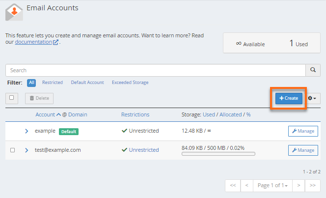 Email Accounts - Create button