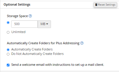 Email Accounts - Optiona Settings
