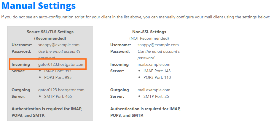 cPanel - Email Accounts - Manual Settings