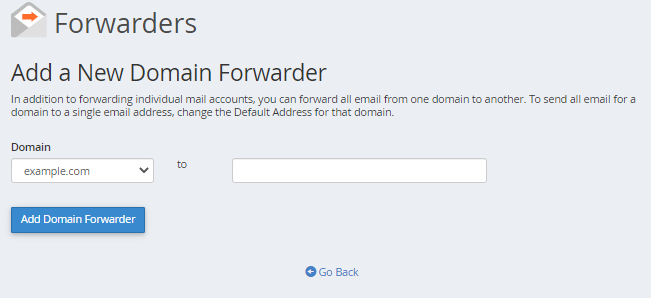 cPanel - Email - Add New Domain Forwarder