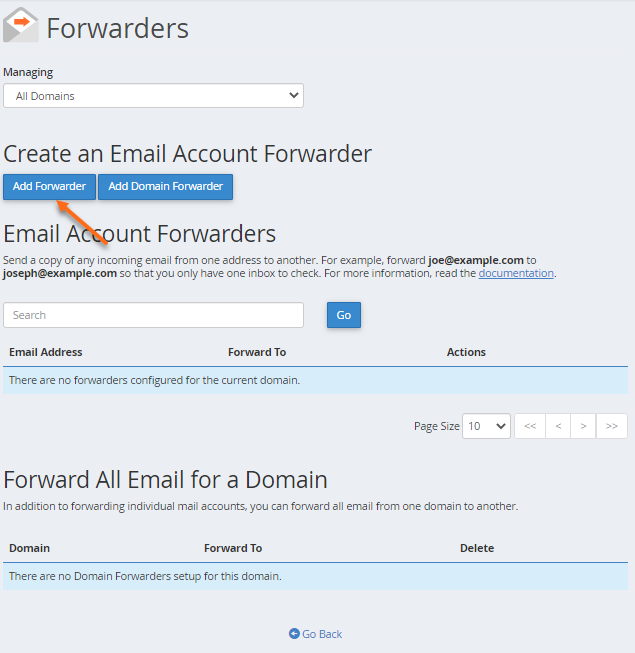 cPanel - Email Forwarder - Add Forwarder