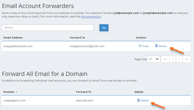 cPanel - Delete Forwarder