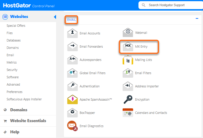 HostGator cPanel MX Entry