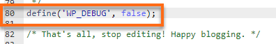 Define WP Debug False