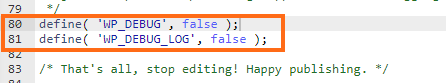 Define WP Debug Log False