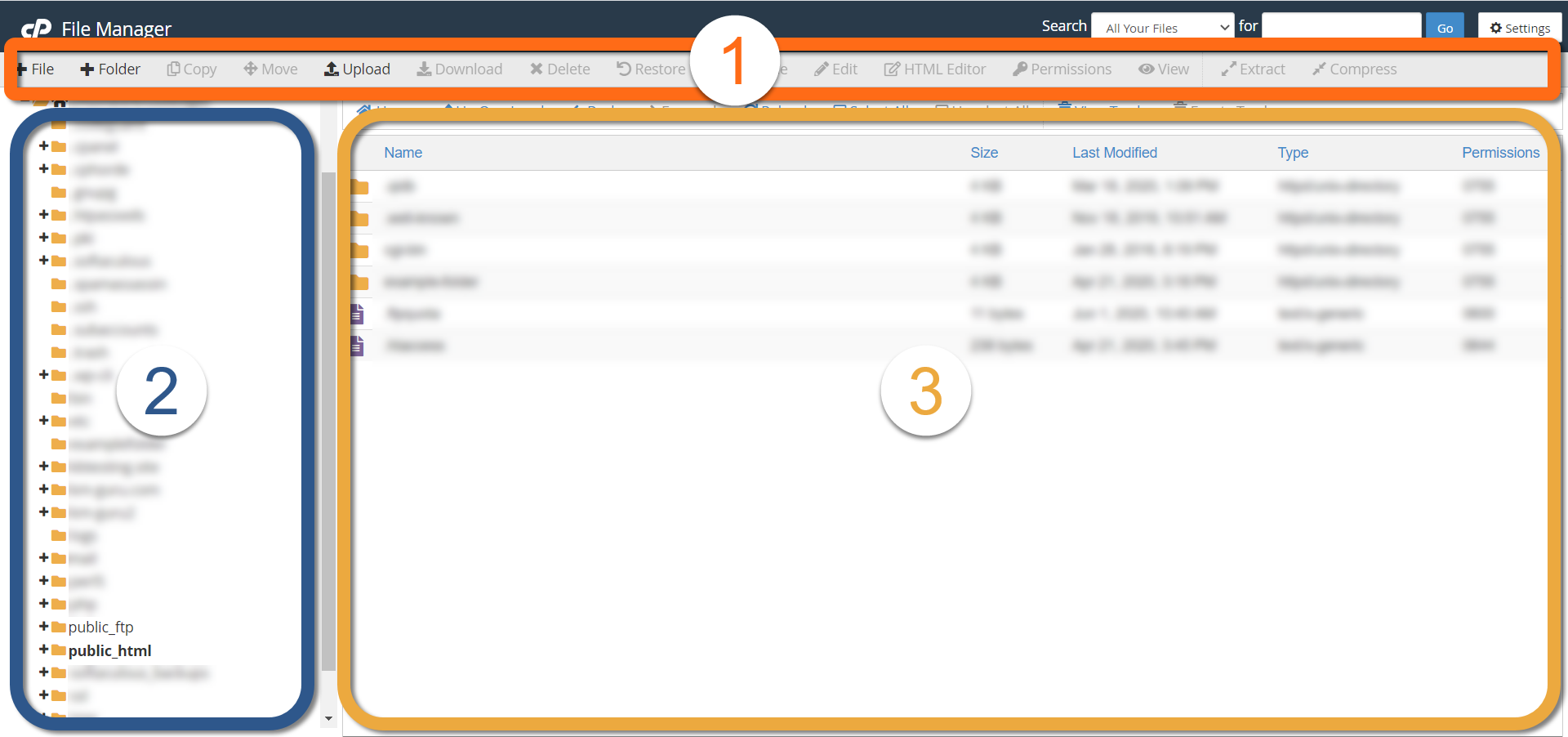 HostGator cPanel File Manager Sections Highlighted