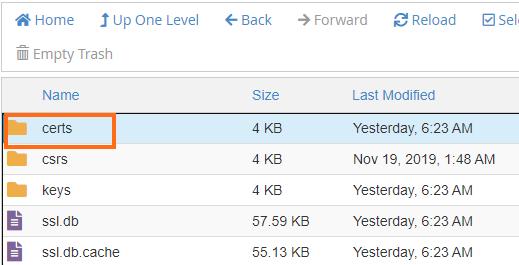 File Manager- certs folder