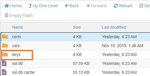 File Manager - keys folder