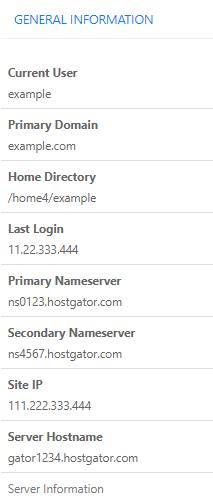 cPanel - General Information - Site IP