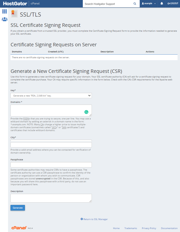 cPanel - Generate Certificate Signing Requests