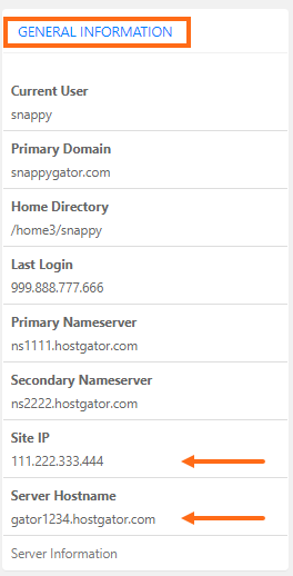 cPanel - General Information - Site IP and Server Hotsname