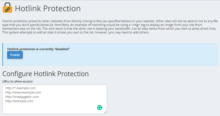 Configure Hotlink Protection