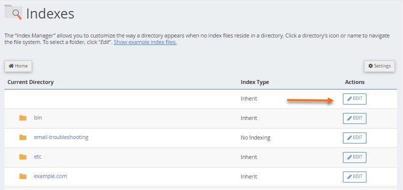 cPanel - Directory Privacy - Select Directory and Click Edit