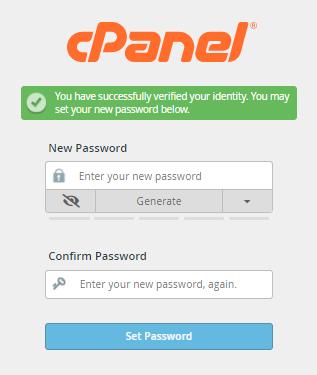 cPanel - Enter New Password