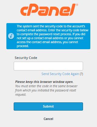 cPanel - Enter Security Code