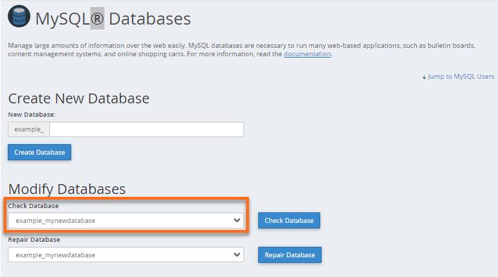 phpMyAdmin - Check Database