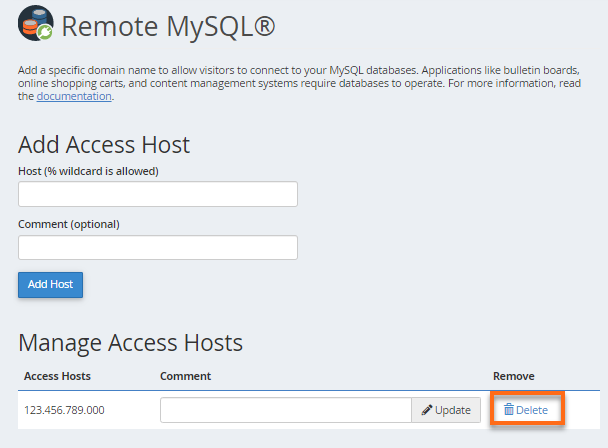 Remote MySQL - Remove IP Address