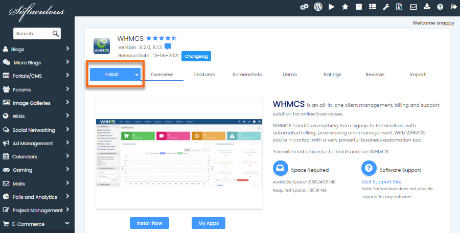 Softaculous - Install WHMCS
