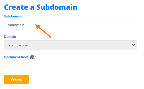 cPanel - Create Subdomains