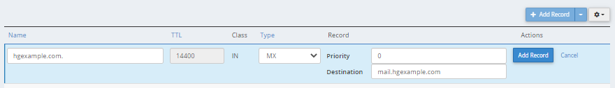 cPanel -  MX Entry - Add New Record