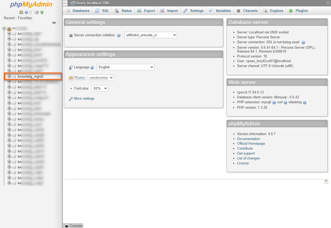 HostGator cPanel phpMyAdmin Database List