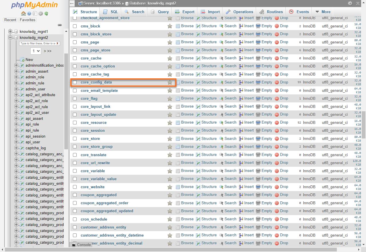 HostGator cPanel phpMyAdmin core_config_data