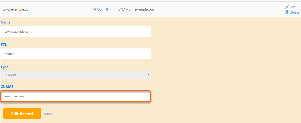 cPanel Save Changes to www CNAME Record