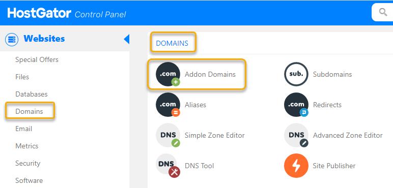 Hostgator cPanel Addon Domains Button