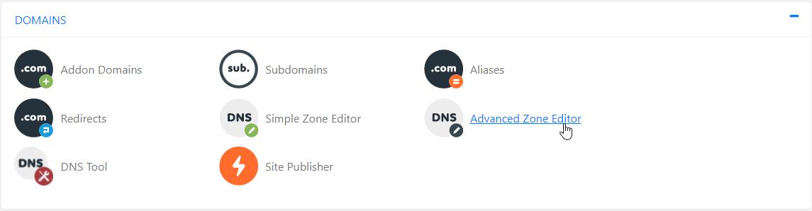 cPanel Advanced DNS Zone Editor
