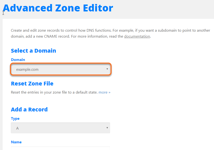 cPanel Advanced DNS Zone Editor Select Domain