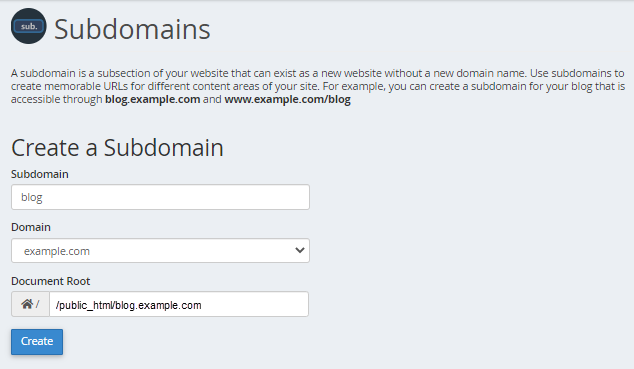 HostGator cPanel Create Subdomain section