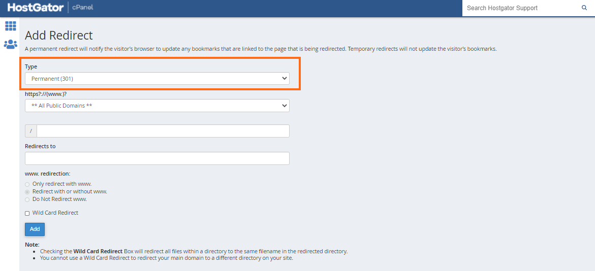 cPanel - Redirects - Type of Redirects
