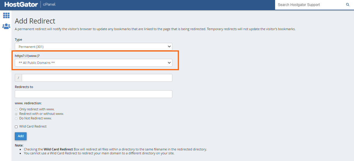 cPanel - Redirects - Choose Domain