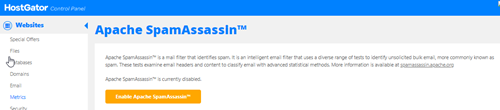 HostGator cPanel Enable Apache SpamAssassin