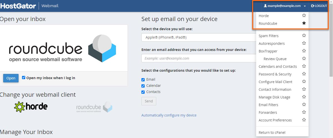 HostGator cPanel email programs