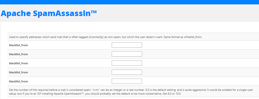 HostGator cPanel Apache SpamAssassin Add IP Address or Email