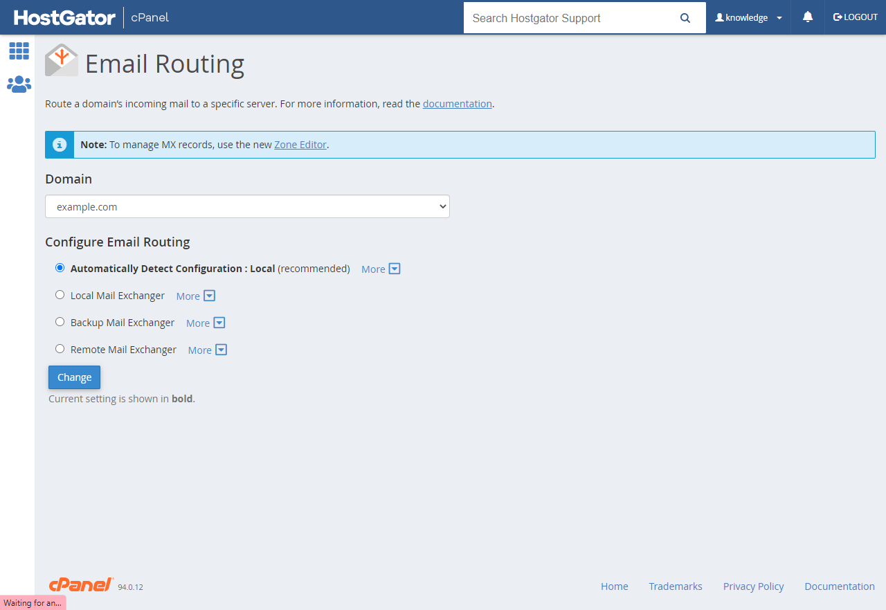 cPanel's Email Routing