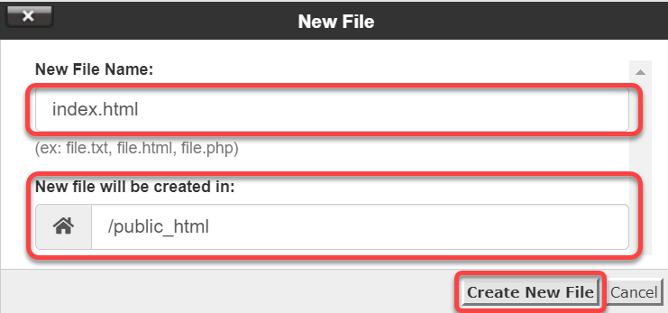 Create index.html file