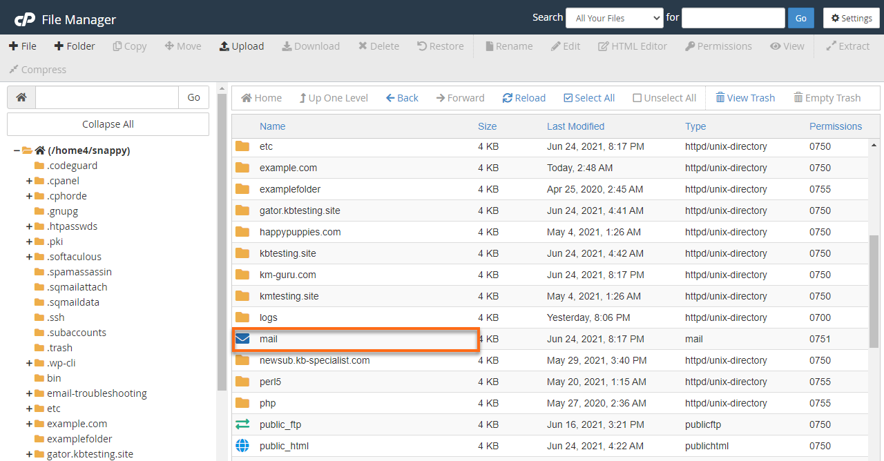 HostGator cPanel mail Folder