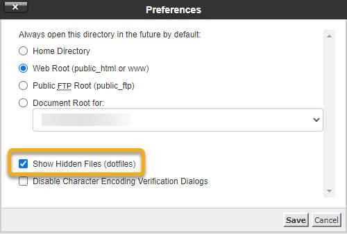 Hostgator cPanel File manager Show hidden files