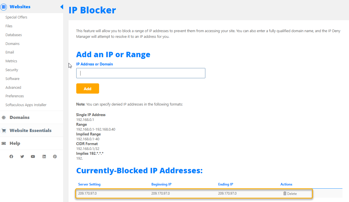 HostGator Cpanel Unblock IP Address