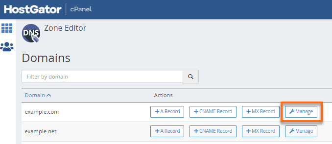 cPanel Manage DNS