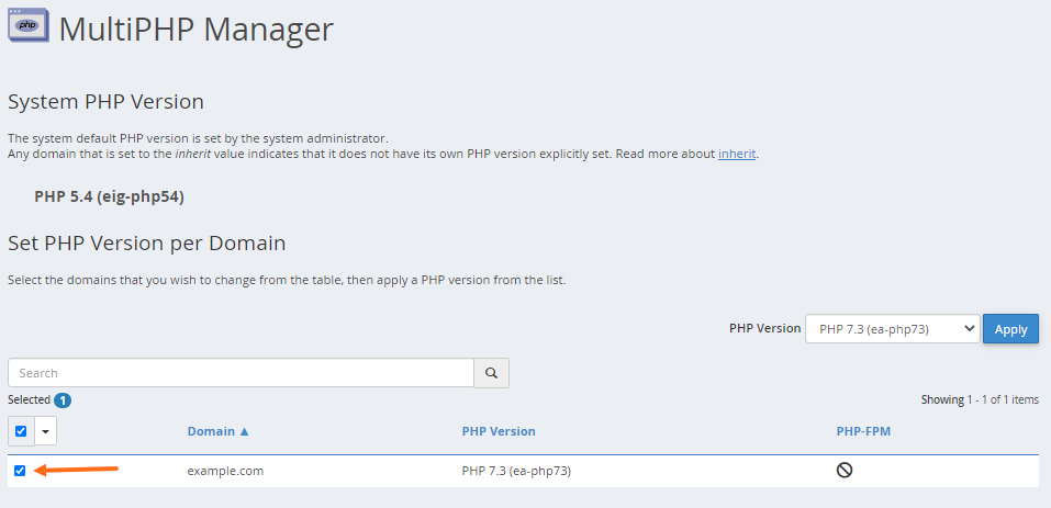 MultiPHP Manager Select Domain