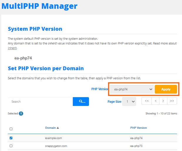 MultiPHP Manager Select PHP Version