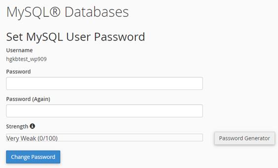 HostGator MySQL Set Password