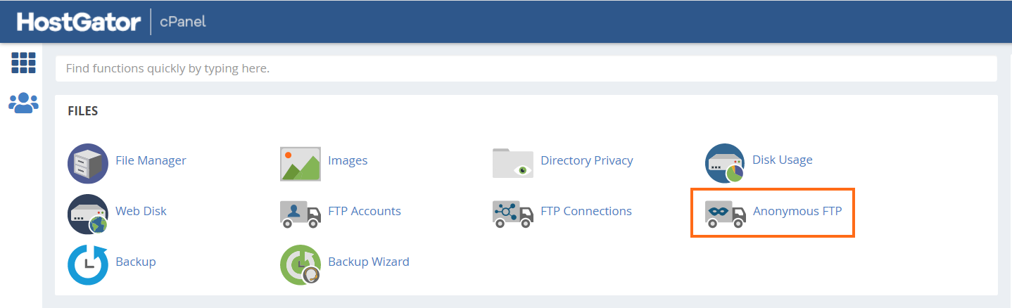 cPanel Anonymous FTP