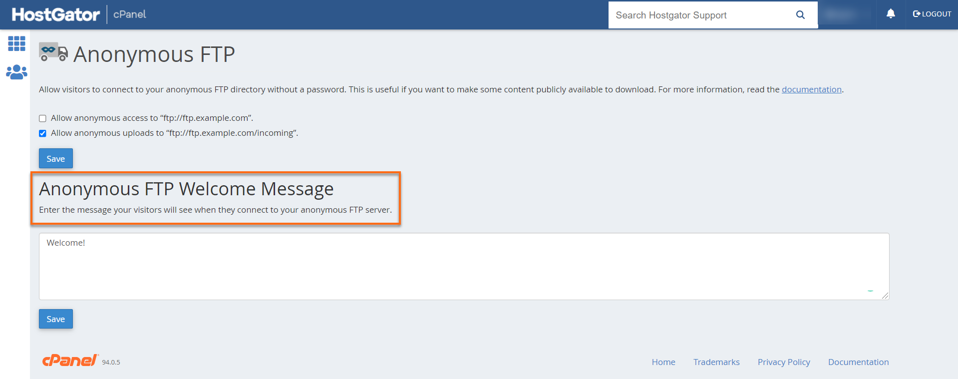 cPanel Anonymous FTP  Welcome Message