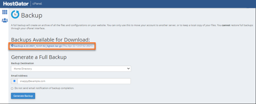 cPanel backups ready for download