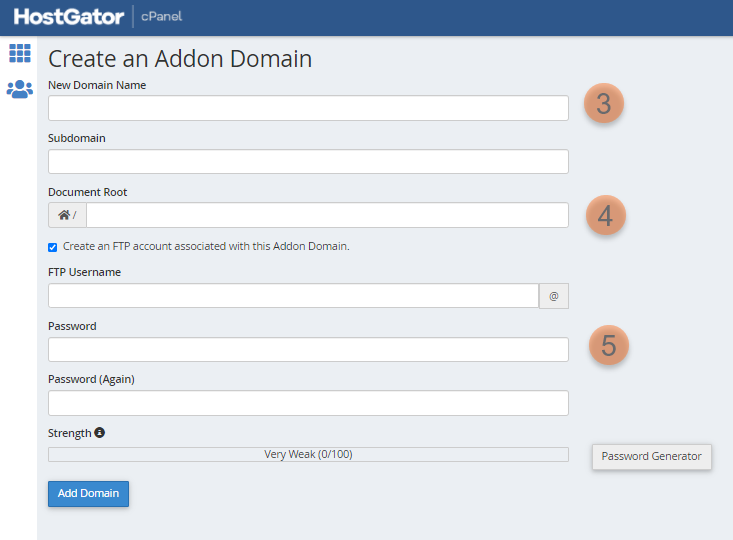 Steps in creating an addon domain