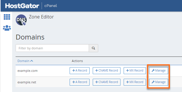 Domain manage section